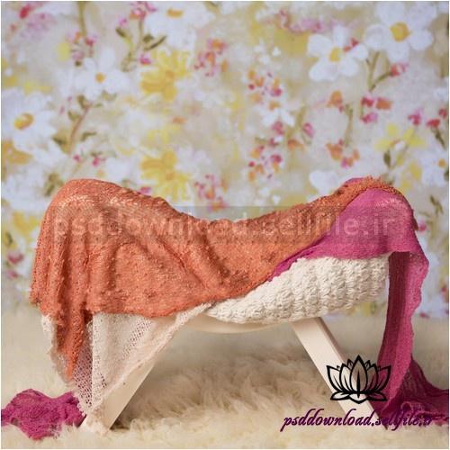بک دراپ نوزاد چهارپایه و پارچه های رنگی-کد 1015