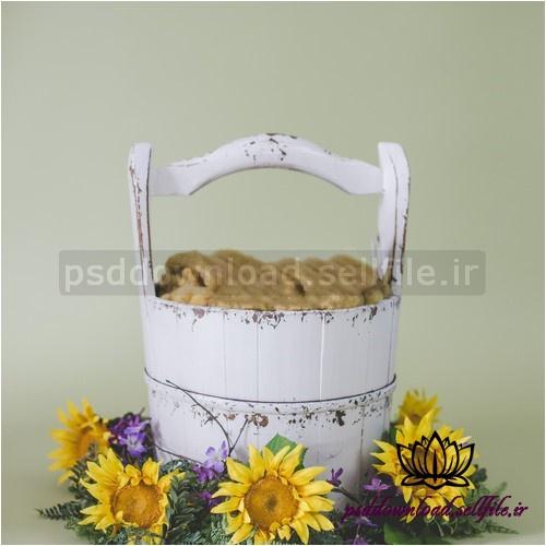 بک دراپ نوزاد سطل چوبی و گلهای آفتابگردان-کد 1028