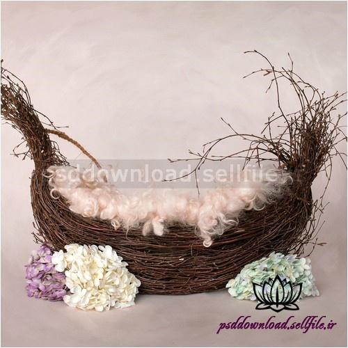 بک دراپ نوزاد سبد شاخه درختی گل آرایی-کد 1032