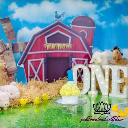 بک دراپ تولد تم مزرعه حیوانات -کد 4982