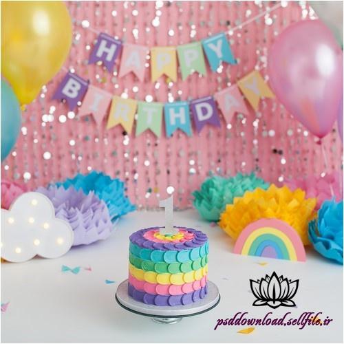 بک دراپ تولد تم رنگین کمان -کد 5914