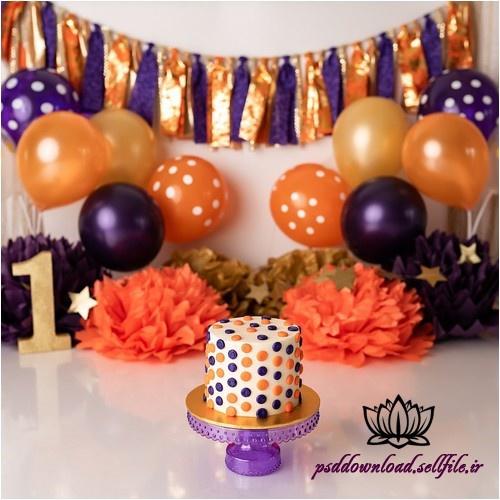 بک دراپ تولد تم بنفش و نارنجی -کد 5928