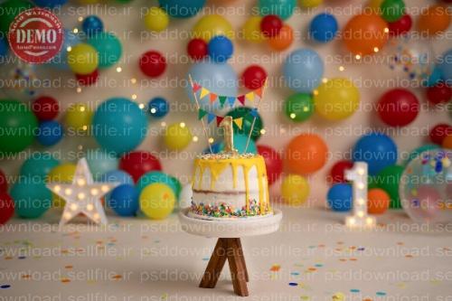 بک دراپ تولد تم ستاره و بادکنک های رنگی-کد 6229