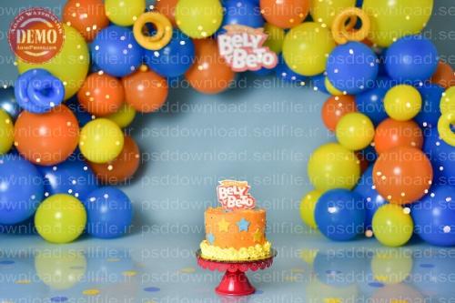 بک دراپ تولد تم آبی و نارنجی -کد 6235