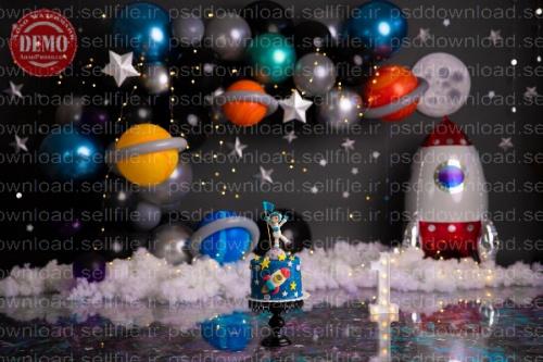 بک دراپ تولد تم فضانورد -کد 6241
