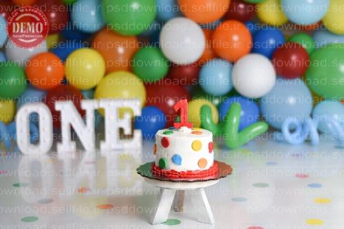 بک دراپ تولد تم بادکنک های رنگارنگ -کد 6242