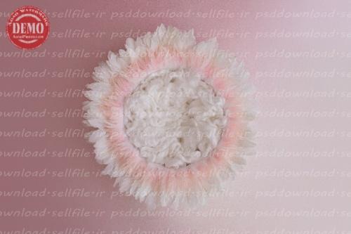 بک دراپ نوزاد پرهای آبنباتی-کد 6254