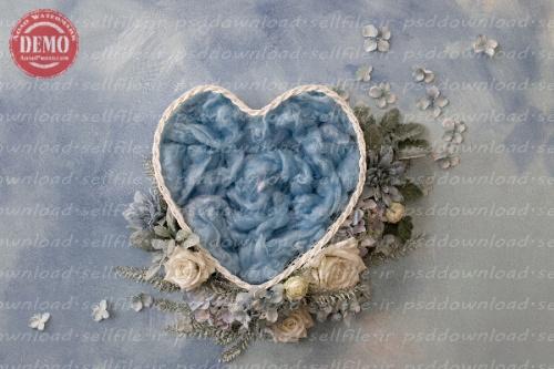 بک دراپ نوزاد سبد قلبی تم آبی -کد 6270