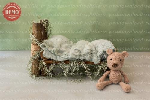 بک دراپ نوزاد تخت خواب و خرس کاموایی -کد 6291