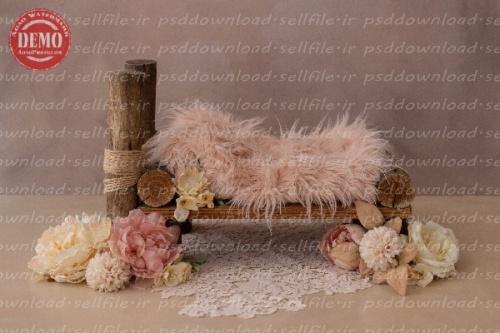 بک دراپ نوزاد تخت خواب چوب درختی -کد 6296