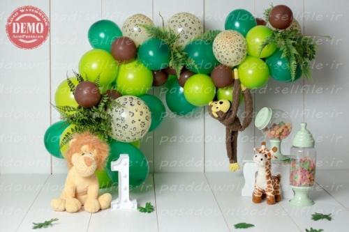 بک دراپ تولد تم شیر و میمون و زرافه -کد 6362