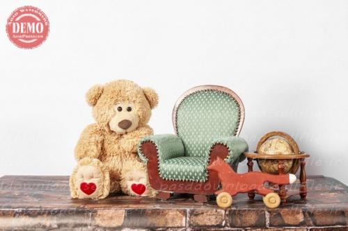 بک دراپ نوزاد و کودک مبل و عروسک خرسی -کد 6374