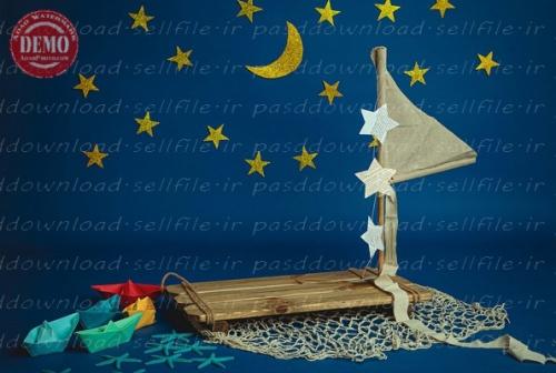 بک دراپ آتلیه کودک تم قایق چوبی -کد 6377