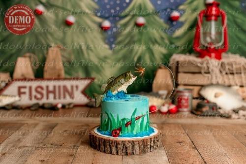 بک دراپ تولد تم ماهیگیری -کد 6382