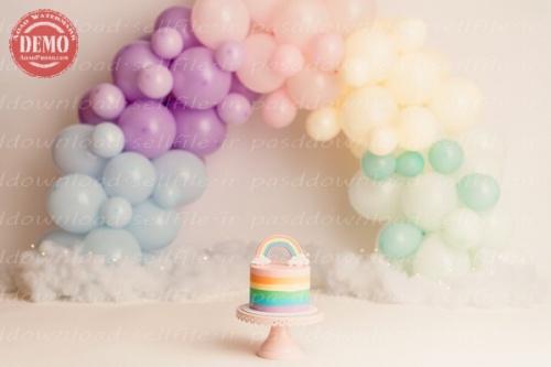 بک دراپ تولد تم رنگین کمان پاستلی-کد 6385