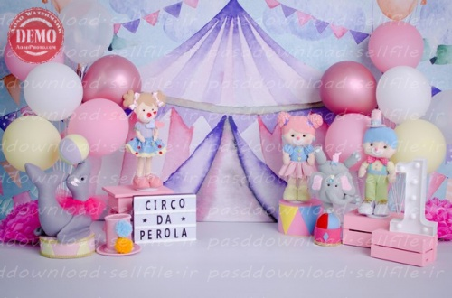 بک دراپ تولد تم سیرک -کد 6396