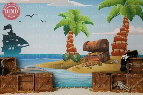 بک دراپ تولد تم جزیره گنج -کد 6399
