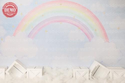 بک دراپ تولد تم رنگین کمان -کد 6404