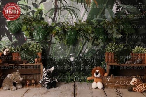 بک دراپ تولد تم باغ وحش -کد 6407
