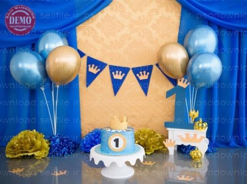 بک دراپ تولد تم شاهزاده-کد 6413