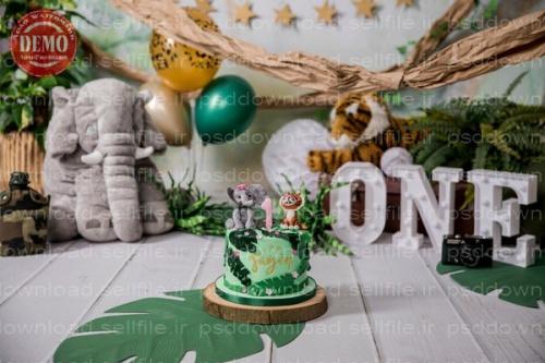 بک دراپ تولد تم جنگل -کد 6416