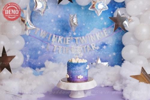 بک دراپ تولد تم ستاره های کوچک -کد 6459
