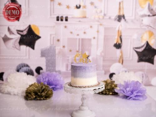 بک دراپ تولد تم ستاره و گلهای کاغذی-کد 6462