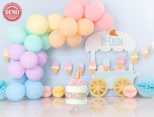بک دراپ تولد تم بستنی -کد 6470