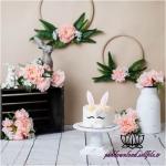 بک دراپ تولد تم خرگوش و گل رز -کد 5999