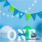 بک دراپ تولد تم سبز و آبی و سپید -کد 6111