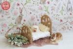 بک دراپ تولد تم خرگوش و تخت خواب -کد 6492