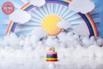 بک دراپ تولد تم ابر و رنگین کمان و خورشید-کد 7011