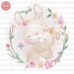 وکتور کارتونی خرگوش مادر و بچه در حلقه گل -کد 17