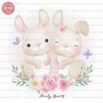 وکتور کارتونی خرگوش دختر و پسر،گل و پروانه -کد 19