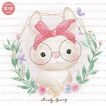 وکتور کارتونی خرگوش خانوم عینکی -کد 20