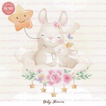 وکتور کارتونی خرگوش مادر و بچه روی ابر -کد 21