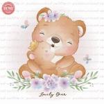 وکتور کارتونی خرس مادر و بچه تاجدار -کد 28