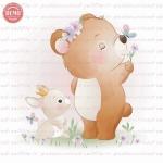 وکتور کارتونی دوستی خرس و خرگوش-کد 29