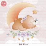 وکتور کارتونی خرس خوابیده روی ماه -کد 31