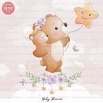 وکتور کارتونی خرس مادر و بچه روی ابر -کد 32