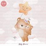 وکتور کارتونی خرس مادر و بچه روی ابر -کد 33