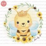 وکتور کارتونی زنبور عسل و گل آفتابگردون -کد 36