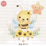 وکتور کارتونی زنبور روی ابر -کد 44