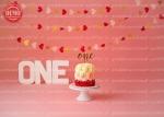 بک دراپ تولد تم گل رز و قلب های رنگی -کد 7431